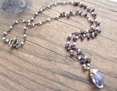 Long Beaded Boho Chic Necklace ~~ Handmade Boho Luxe Raw Amethyst Crystal Point Pendant Necklace