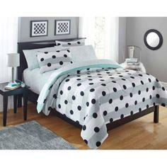 Your Zone Grey Stripe Dot Bed in a Bag Bedding Comforter Set - Walmart.com