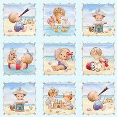 4123-blue, Beach Kids, Fabric Collections, Elizabeth's Studio LLC