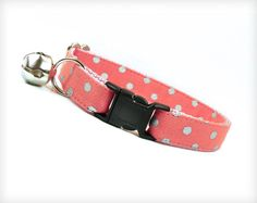 """Cat Collar - """"Rapture"""" - Coral Pink w/ Silver Polka Dots"""
