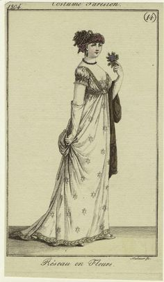 An evening gown circa 1804. Jesslyn Chance, the hostess of the spa, might wear something like this at events.