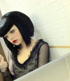 Black blunt bob with bangs! Can't go wrong!