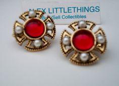 red stone Maltese cross earrings vintage red by ALEXLITTLETHINGS, $10.33