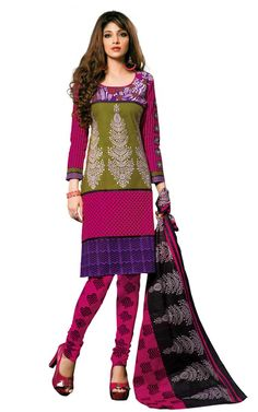GREEN & PINK COTTON SALWAR KAMEEZ - DISH 1007