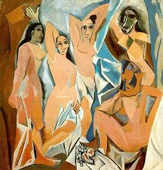 Cubism was a century avant-garde art movement, pioneered by Pablo Picasso and Georges Braque. This painting is Les Demoiselles D' Avignon by Picasso. Pablo Picasso, Art Picasso, Picasso Paintings, Picasso Style, Cubist Paintings, Cubism Art, Watercolor Paintings, Picasso Sketches, Picasso Drawing