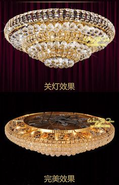 Φώτα οροφής γύρω από τη λάμπα υπνοδωμάτιο σαλόνι μοντέρνο φωτιστικά κινέζικο εστιατόριο χρυσό φωτεινό LED Crystal Light