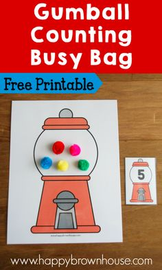This Gumball Counting Busy Bag is a perfect way for preschoolers to practice counting and one-to-one correspondence. This preschool busy bag is so cute! This would also work for a math center in kindergarten. Preschool Math Games, Counting Activities, Free Preschool, Preschool Printables, Kindergarten Math, Activities For Kids, Preschool Age, Teaching Math, Preschool Curriculum