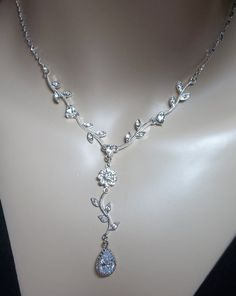 Sparkling Rhinestone Bridal set - LONG Crystal earrings - Adjustable neckchain - Beautiful Jewelry -. $59.00, via Etsy.