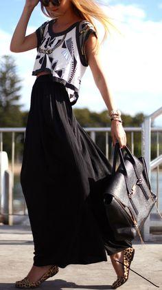 black maxi, embellished crop top, leopard flats