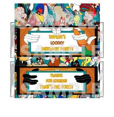 THAT'S ALL FOLKS!! Bugs Porky Daffy Fudd LOONEY TUNES BIRTHDAY PARTY candy bar wrappers FREE FOILS