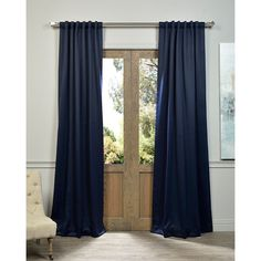 Exclusive Fabrics Navy Blue Thermal Blackout Curtain Panel Pair (Navy Blue- 84L Pair), Size 50 x 84 (Polyester, Solid)