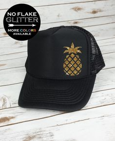 Pineapple Hat Trucker Hat GLITTER trucker by BellaDesignsOutdoor