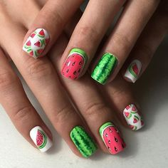Beach nails, Beautiful summer nails, Cheerful nails, Cool nails, Fruit nails…