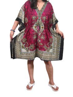 Women's Bohemian Kaftan Dresses Short Caftan Pink Cover up Tunic Beach Dress