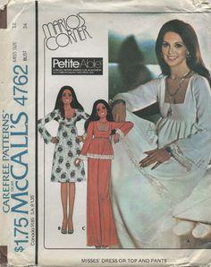 McCalls 4792 Misses Dress Top Pants Vintage Sewing Pattern Size 8 Mccalls Patterns, Vintage Sewing Patterns, Clothing Patterns, Dress Patterns, Couture, Marlo Thomas, 60s And 70s Fashion, Fashion Vintage, 1970s Dresses