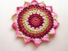 Colorful Mandala Table Mat  Plant Mat  Plant Rug  by BeyondCrochet
