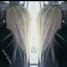 Silver blonde hair with a peekaboo purple/teal. From the chair or Amber Myrtle Beach, SC. #silverhair #blonde #purplehair #bluehair #fashioncolors #baylage #healthyhair