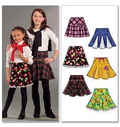 "M5696| girls skirts| lt wt wovens: lt wt broadcloth, lt wt denim, lt wt linen| 5/8yd, 7"" zipper"