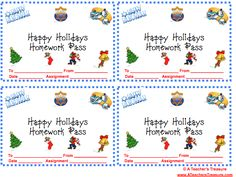 FREE Christmas Homework Passes - The Peanut Gallery ...