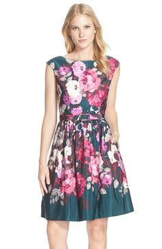 Eliza J Belted Floral Print Fit & Flare Dress available at #Nordstrom