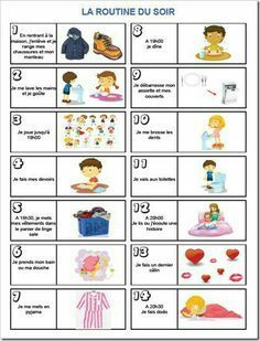 La routine du soir www. French Lessons, Teaching French, Google Classroom, Learn French, Kids Education, Kids And Parenting, Montessori, Activities For Kids, Preschool