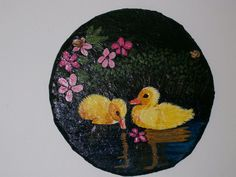 Baby Ducks slate wall hanging by paintingsbysandy on Etsy, $12.00