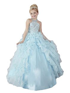 67bc602f4573 Zhoumei Little Girls  Halter Ruffled Prom Ball Gowns Kids Pageant Dresses