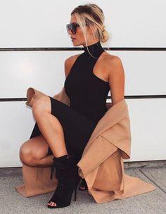 Black dress with camel coat