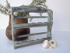 Blue Green Vintage Spice Rack Spice Rack  Rustic by shabbyshores, $35.00