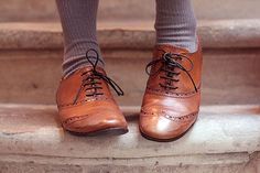 Oxfords or Brogues. I think these shoes are so quirky and charming; I like to style them with floral or vintage pattern dresses.  And on a cold winter/autumn day they look great with thick socks or tights!
