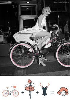 What if Marilyn had a Skirt Clip?  #bicycle #fun #woman Le Poupoupidou @HappyBicycle.eu