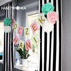 papierowa girlanda, paper garland, birthday, birthday decor, first birthday, dekoracja, diy, zrób to sam