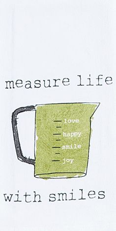 "Measure Life With Smiles - Cooking 100% Cotton Krinkle Flour Sack Dish Towel / Tea Towel, 26"" x 26"""