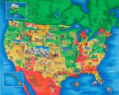 Multi Panel  Map United States Multi from @fabricdotcom  Designed for Fabric Traditions, this panel features a United States with the state capitals named. The color palette includes blue, red, green, yellow and orange. The panel measures 35'' x 44''. Use for quilting and craft projects.