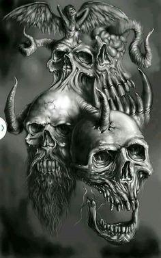 Evil Skull Tattoo, Skull Tattoo Design, Skull Design, Skull Tattoos, Body Art Tattoos, Tatoos, La Muerte Tattoo, Screaming Skull, Grim Reaper Art