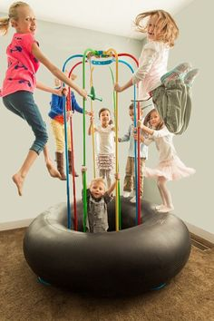 Description Metal Poles Product Specifications Our 6 1/2 ft Jungle Jumparoo is designed for ages 2 years & up. It is perfect for backyards, indoor playrooms