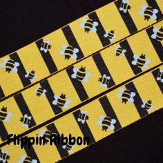 Bumble Bee Ribbon - 7/8 inch Printed Twill