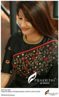 New and Stylish Model Blouse Designs - Kurti Blouse Saree Blouse Patterns, Saree Blouse Designs, Dress Patterns, Trendy Sarees, Fancy Sarees, Hand Embroidery Dress, Embroidery Saree, Sari Design, Fancy Blouse Designs