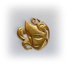 1 - THEATRICAL MASK Raw Brass Jewelry Findings  (D)