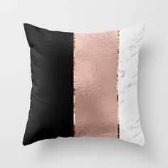 Rose metallic striping - marble and onyx Throw Pillow by marbleco Glamorous rose gold, marble and black onyx stripes adorned with rich rose gold edging. Marble Room Decor, Rose Gold Room Decor, Rose Gold Rooms, Marble Bedroom, Gold Bedroom Decor, Gold Home Decor, Elegant Home Decor, Bedroom Black, Elegant Homes
