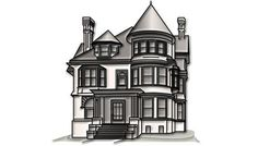 Victorian: Victorian architecture dates from the second half of the century, when America was exploring new approaches to building and design. Advancements in machine technology meant that Victorian-era Home Architecture Styles, Victorian Architecture, Residential Architecture, Outline Pictures, Different Types Of Houses, Building Drawing, Home Buying Tips, Design Research, Paper Houses
