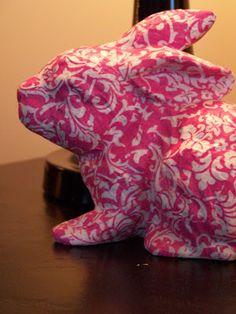 Decoupaged Pink Damask Bunny