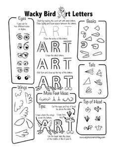 "Art Portfolio Cover Lesson: Drawing sheets and instructions to create the word ""ART"" with letters that resemble wacky birds, or wacky monsters.  This is a perfect lesson for the front of your student art portfolios. Students will have fun and also practice using what they've learned about creating space. 7 different printable to inspire your students!"