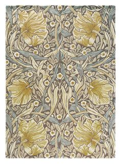 Morris & Co Pimpernel Bullrush 28808 Contemporary Area Rugs, Modern Area Rugs, Victorian London, Victorian Terrace, Fashion Wallpaper, Oriental Design, Burke Decor, Floral Rug, Grey And Gold