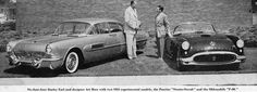 Six-foot-four Harley Earl and designer Art Ross with two 1954 experimental models, the Pontiac Strato-Streak and the Oldsmobile F-88