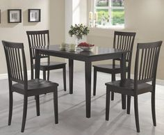 5 pc Wildon home laurel oakdale espresso finish wood dining table set with wood seats. This set features the table and 4 side chairs with wood seats. Table measures x x H. Chairs measure x x H. Some assembly required. Small Kitchen Table Sets, Kitchen Dinette Sets, 7 Piece Dining Set, Dining Table In Kitchen, Dining Room Sets, Dining Room Furniture, A Table, Dining Chairs, Side Chairs