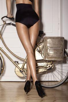 Lovely gold bike. Killer heels