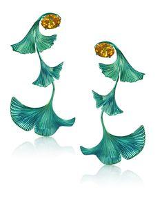 Earrings Ginkgo titanium citrine Made in Switzerland