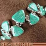 Genuine Sterling Silver and Turquoise WhiteRock Link Bracelet