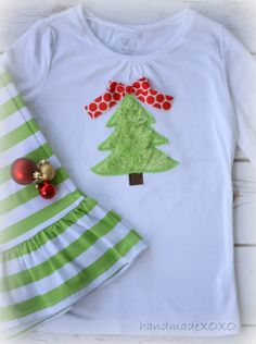 Simple Applique Christmas tree shown on a white tshirt from Walmart. find me at: www.handmadexoxo.etsy.com for all your personalized items!